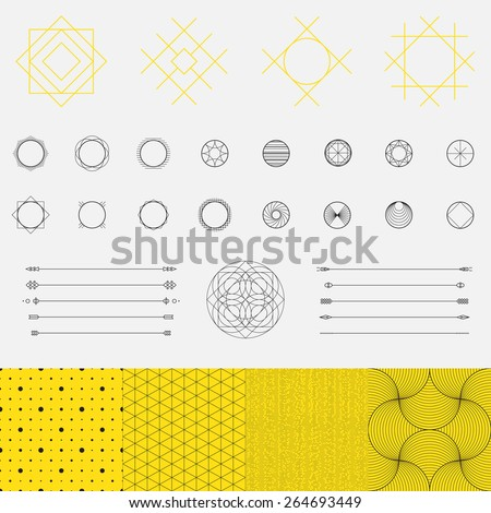 Set of geometric shapes, triangle, circle, pattern, line design, vector  - stock vector