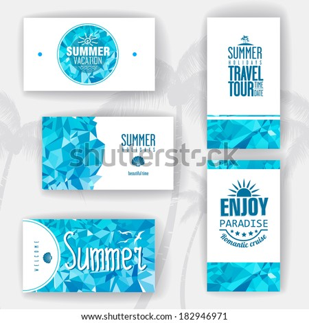 Set of geometric summer visiting card. corporate identity - stock vector