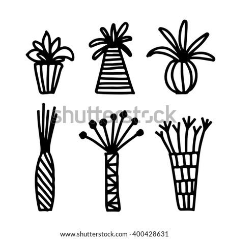 geometric vase set geometric vases vase set pot stock vector 400428631 shutterstock