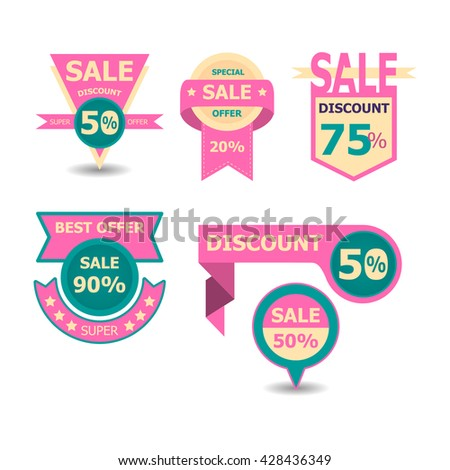 Set of geometric vector sale banners. sale badges design template