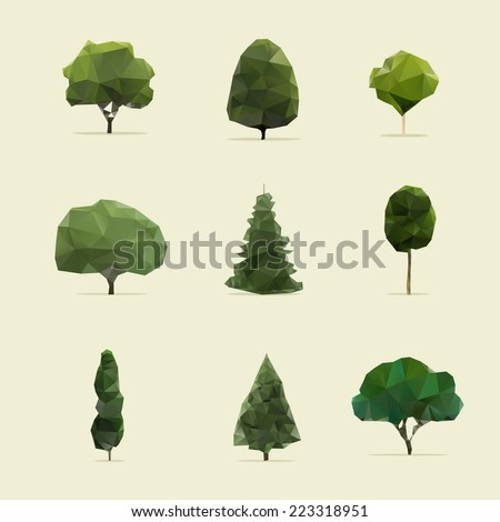 set of geometric vector trees  - stock vector