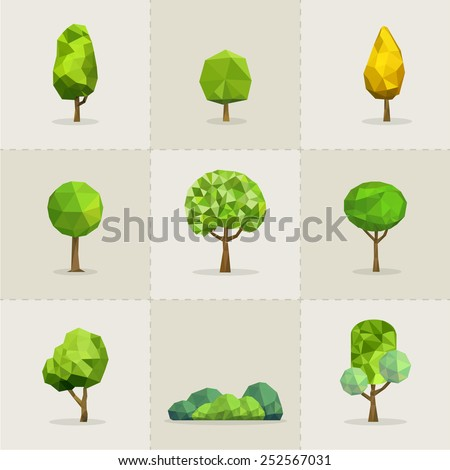 Set of geometric vector trees, Abstract tree low poly, Vector illustrator - stock vector