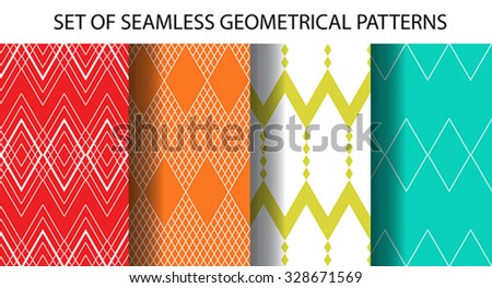 Set of 4 geometrical different vector seamless patterns (tiling). Retro endless textures can be used for wallpaper, pattern fills, web page background, surface. Set of monochrome geometric ornaments - stock vector