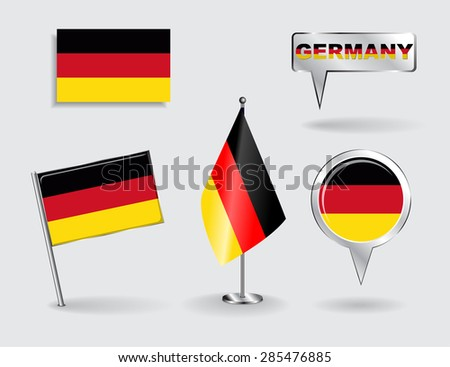 Set of German pin, icon and map pointer flags. Vector illustration. - stock vector