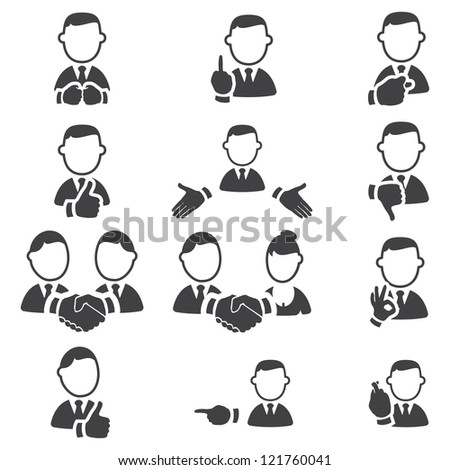 Set of gesture icons - stock vector