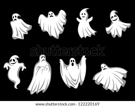 Set of ghosts for halloween holiday design isolated on background, such a logo template. Jpeg version also available in gallery - stock vector
