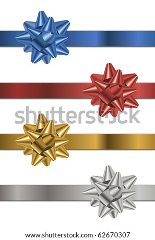 Set of gift bows and ribbons - stock vector