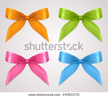 Set of gift bows (ribbons, present symbol). Decorative Design element for invitation, gift card, gift certificate, invitation, coupon. Useful for holidays, celebrations (Birthday, Christmas). Vector - stock vector