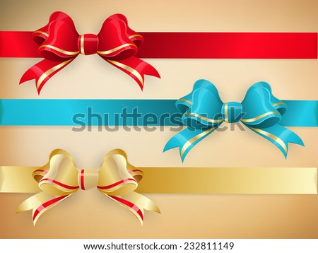 Set of gift bows with ribbons. EPS 10 vector file included - stock vector