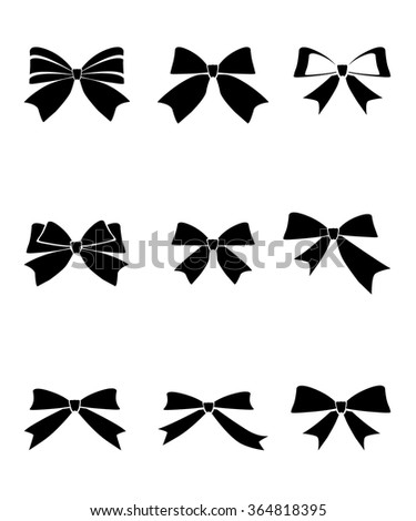 Set of gift bows with ribbons on white background.Vector illustration  - stock vector