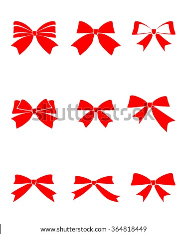 Set of gift bows with ribbons on white background vector illustration  - stock vector