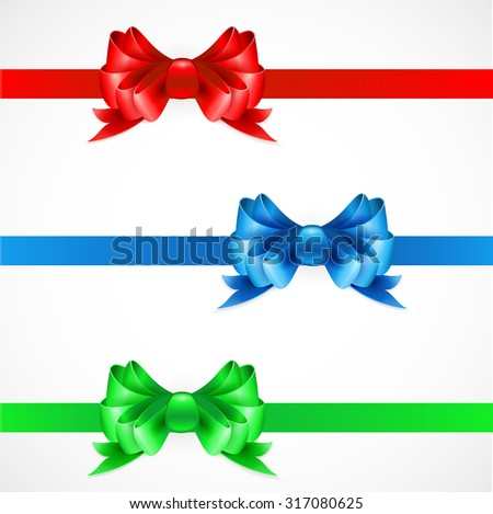 Set of gift bows with ribbons. Red, green and blue color. EPS 10 - stock vector