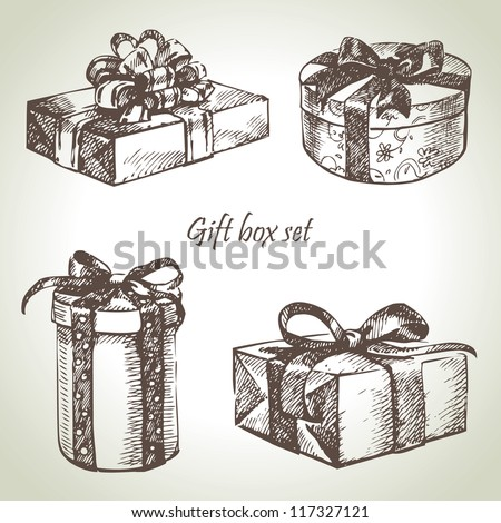 Set of gift boxes. Hand drawn illustration - stock vector