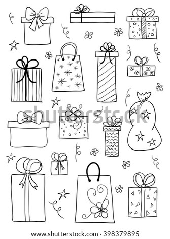 Set of gift boxes. Hand drawn vector sketch of gift boxes, presents for birthday, anniversary, wedding design - stock vector