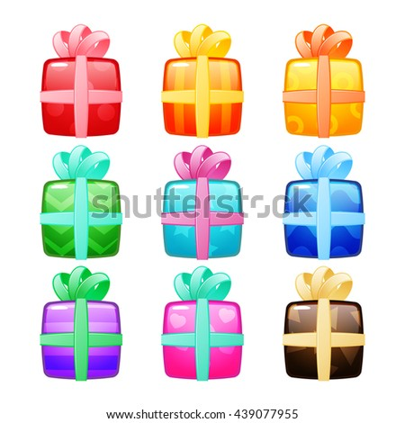 Set of gift boxes with bow and ribbon. Vector illustration is fully editable - stock vector