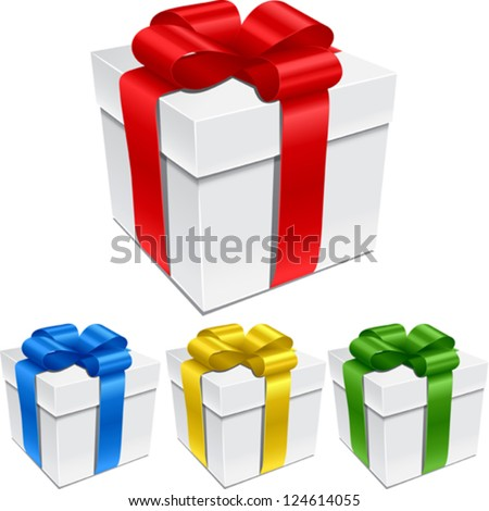 Set of gift boxes with bows and ribbons. - stock vector