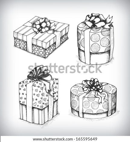 Set of gift boxes with bows and ribbons in a sketch style. Hand-drawn vector Illustration. - stock vector