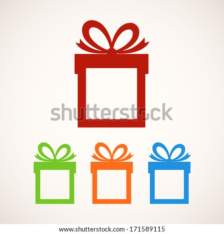 Set of gift boxes with place for text. Vector illustration - stock vector