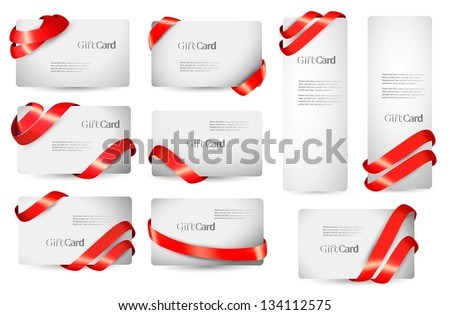 Set of gift card notes with red ribbons. Vector illustration. - stock vector