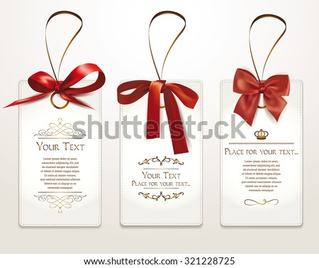 Set of gift cards with red bows - stock vector