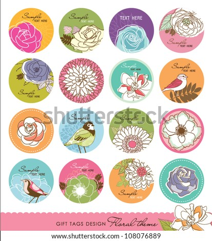 set of gift tag design with floral theme - stock vector