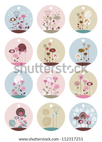 Set of gift tags templates with decorative floral elements - stock vector