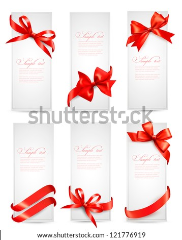 Set of gift tags with red gift bows with ribbons Vector - stock vector