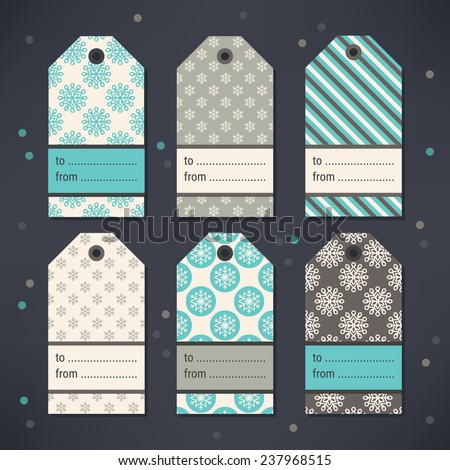 Set of Gift Tags with Snowflakes and Diagonal Stripes in Turquoise, Grey and Beige. Perfect for Christmas, New Year's, birthday presents and gifts. Vector illustration. - stock vector