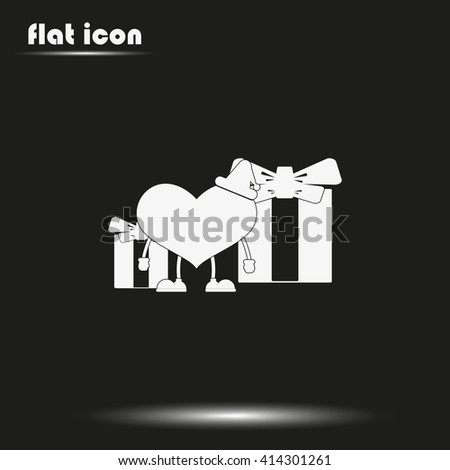 Set of gifts and toy heart icon. Flat illustration. - stock vector