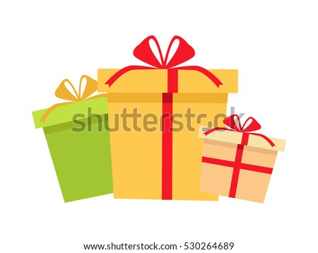 Six big pile colorful wrapped gift 489532972 set of gifts boxes design set gift box present ribbon and bow isolated on negle Gallery