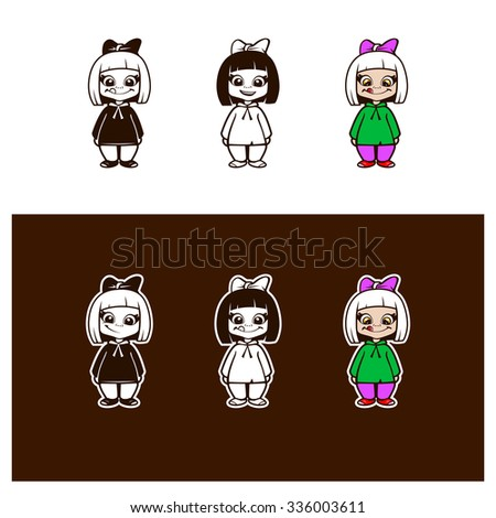 Set of girl characters. fully editable vector illustration