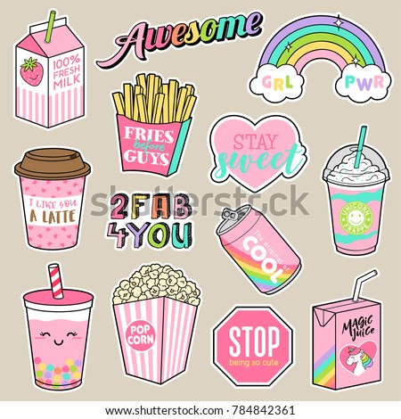 Set of girl fashion patches, cute cartoon food badges, fun stickers design vector in teenager girls concept