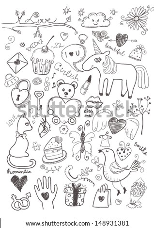 Set of girlish objects - stock vector
