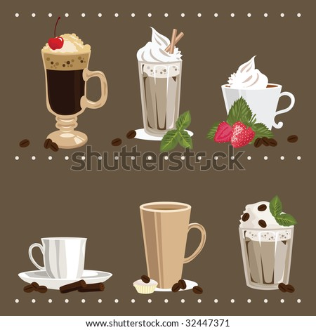 Set of Glass and Cups with Coffee - stock vector
