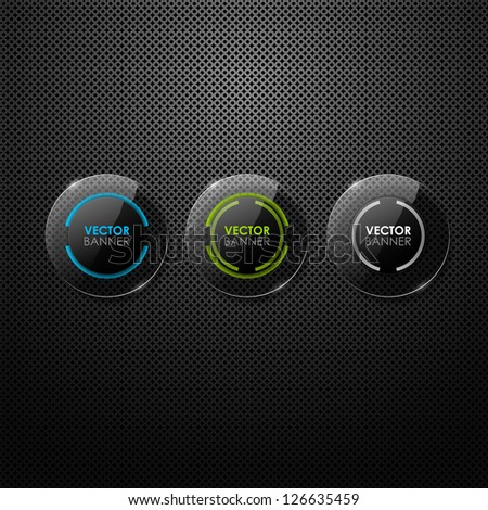 Set of glass buttons - stock vector