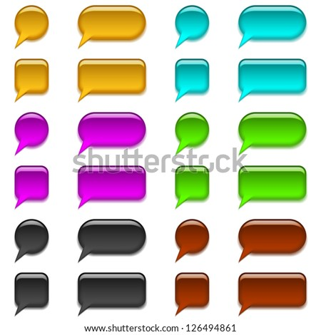 Set of glass buttons bubbles, computer icons of different forms for web design, isolated on white background. Vector eps10, contains transparencies