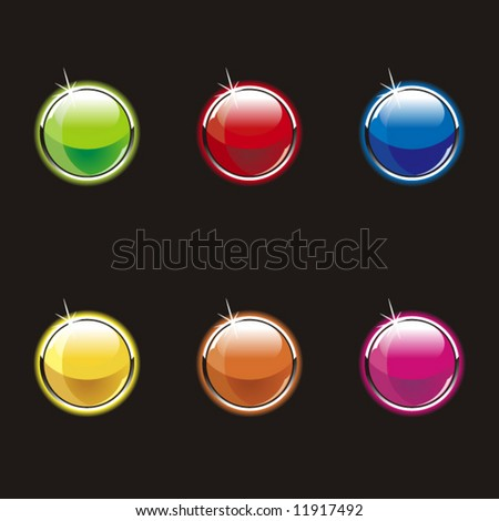Set of glass buttons on a black background - stock vector