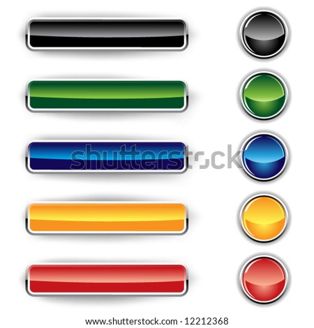 Set of glass buttons on a white background - stock vector