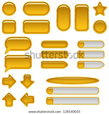 Set of glass gold buttons and sliders, computer icons of different forms for web design, isolated on white background. Vector eps10, contains transparencies - stock vector