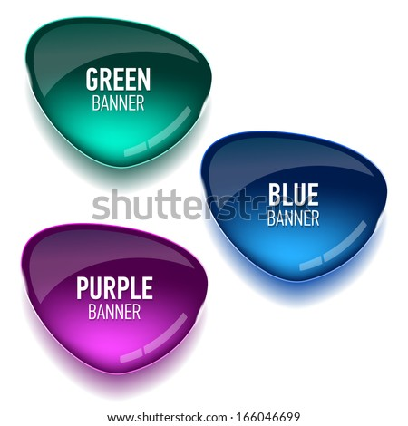 Set of glass green, blue and purple banners for your design. Vector illustration. - stock vector