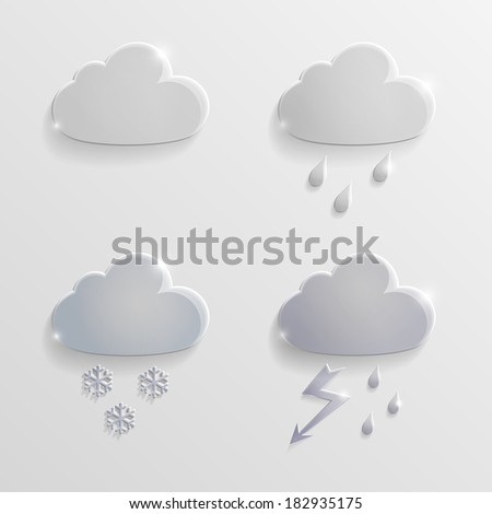 Set of glass icons rain clouds - stock vector