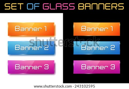 Set of glass orange, blue and purple banners for your design. Vector illustration.