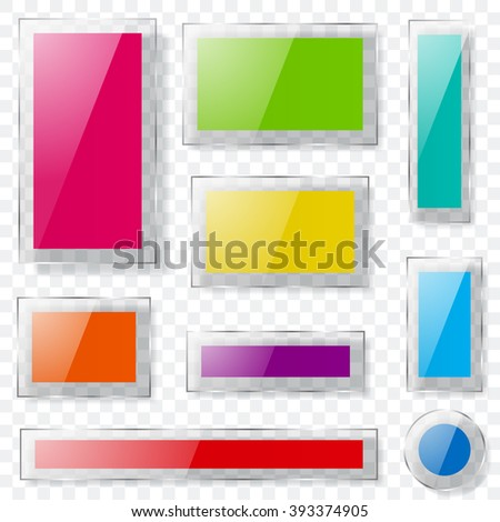 Set of glass plates of different colors with transparent edges and with shadows. Transparency only in vector format - stock vector