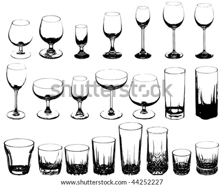 Set of glasses for alcoholic drinks - vector illustration - stock vector