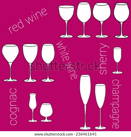 Set of glasses for red wine, white wine, sherry, cognac, champagne on a bright purple background - stock vector