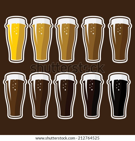 Set of glasses with different varieties of beer - stock vector
