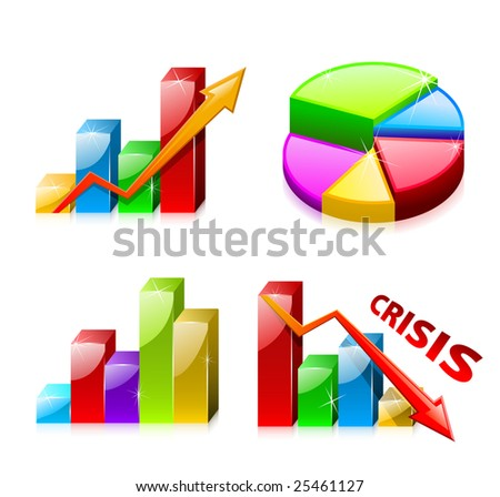 Set 1 of glassy graphs with diagram (finance) - stock vector