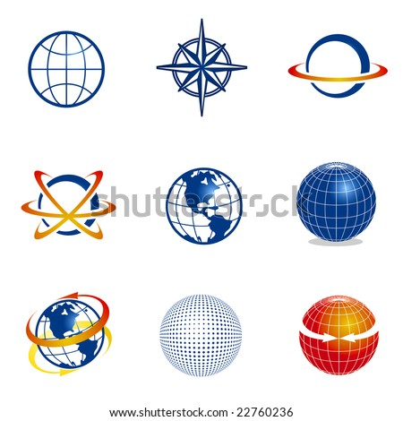 Set of globe/navigation icons - stock vector