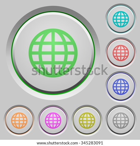 Set of globe sunk push buttons. Well-organized layer, color swatch and graphic style structure. Easy to recolor. - stock vector