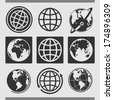 Set of globes - stock vector